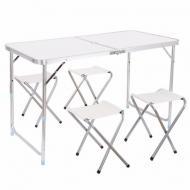 Туристичний стіл Folding Table зі стільцями 4 шт. Білий