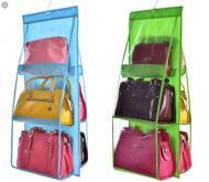 Органайзер для хранения сумок на 6 карманов с крючком в шкаф на дверь синий (7790)