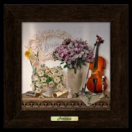 Картина металлическая с деревянной рамой Прованс Скрипка 180х180 мм Коричневый (пркм06к10х10)
