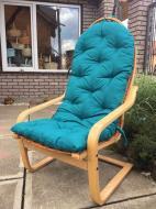 Крісло Woody для саду з амортизатором Бук/Штучний ротанг Світле дерево/Блакитний