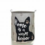 Кошик для білизни Berni Home Будинок тканинний з ручками Сірий (52308)