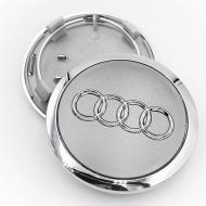 Ковпак заглушка в литі диски Audi 69 мм з хром обідком 1 шт. Сірий