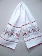 Полотенце венчальное льняное Галерея льна Два цвета 35х150 см Белый с вышивкой и кружевом (82-23/127/01к/23)
