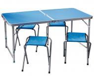 Розкладний стіл для пікніка зі стільцями 120х60х70/55 см Синій (548679994-Т)