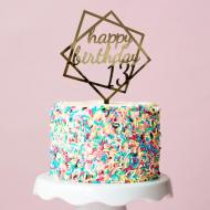 Топпер зеркальный двусторонний Manific Decor Happy Birthday 13 16х20 см Золотой (5.096.01 )