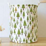 Кошик для білизни Berni Home Зелений ліс тканинний на зав'язках Білий/Зелений (39672)