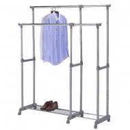 Вешалка для одежды CH-4566 двойная раздвижная на колесиках
