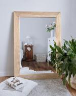 Настенное зеркало в деревянной раме HomeDeco Ясень белый 80х80 см
