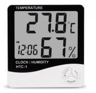 Метеостанция домашняя c часами и будильником HTC-1 термометр и гигрометр