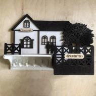 Ключница из фанеры с полочкой и ящиком ящиком Дом с деревом 44х30 см (0000004)