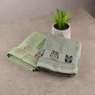 Набор кухонных махровых полотенец GM Textile Sova 30x50 см 2 шт. Зеленый