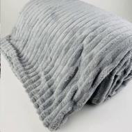Плед покрывало плюшевое полоска из бамбукового волокна (596923953) Серый