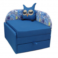 Диван дитячий розкладний Меблі UA Сова (84х84/190х75 см) Блакитний