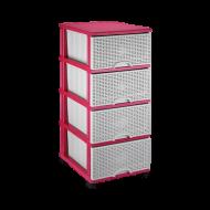 Комод пластиковый Elif Plastik 296 38х46х90 см Розовый