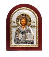 Икона серебряная Иисус Христос Спаситель 20х25 см арочной формы в деревянyой рамке