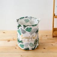 Кошик для білизни Berni Home Тропічні рослини тканинний з ручками Білий/Зелений (49418)
