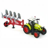 Трактор з плугом іграшковий Wenyi інерційний зі звуками Зелений (58750)