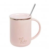 Чашка-заварочник фарфоровая Flora Love 0,43 л Розовый (31811)
