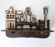 Ключница настенная деревянная Мост 31х22х9 см