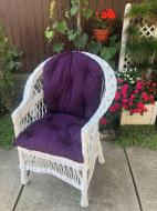 Крісло дерев'яне з подушкою для саду Стандарт Woody Білий/Фіолетовий