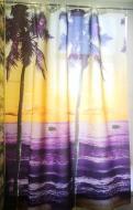 Шторка для ванни і душу текстильна Пальми 8130 180x200 см Фіолетовий/Жовтий