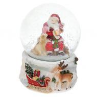 Декоративный водяной шар BonaDi Санта с собакой (559-520)
