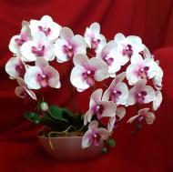 Искусственные цветы Flora Букет орхидей в горшке Белый/Розовый (s1002)