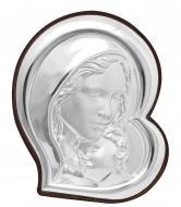 Икона серебряная в форме сердца Богородица с Младенцем в итальянском стиле 8,5х9,5 см