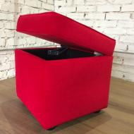 Пуф PidVushkoTrinity с ящиком для хранения 47х47 см Красный (2021-07)