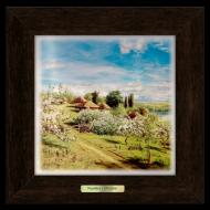 Картина декоративная металл/дерево Украина Хутор с яблоневым цветом 280х280 мм Коричневый (уккм03к20х20)
