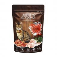 Корм сухий HOME FOOD Курочка та креветка для дорослих активних котів 400 г