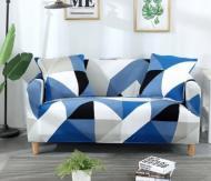 Чохол на 2-місний диван Homytex натяжний Ромб синьо-блакитний