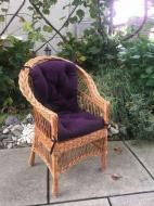 Крісло дерев'яне Woody Стандарт з подушкою садове Світле дерево/Фіолетовий