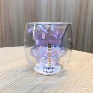 Чашка стеклянная с двойным дном Starbucks Кошачья лапа Фиолетовый