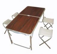 Стол туристический усиленный складной с четырьмя стульями Коричневый