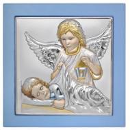 Иконка детская Ангела Хранителя 15х15 см в серебре покрыта разноцветной эмалью в синем киоте
