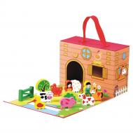 Детская настольная игра ферма в коробке с фигурками домашних животных и игровым полем Bino