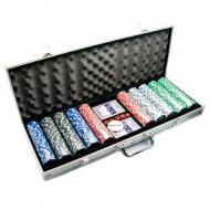 Покерный набор 500 фишек без номинала и карты в алюминиевом кейсе (34259)