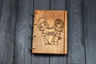 Записна книжка Love Темна з фанери А5 на кільцях 7327