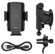 "Автотримач-зарядка для телефону Hoco Avangard smart wireless charging car holder CA84 15W 4,5-6,7"" Black (4516580)"