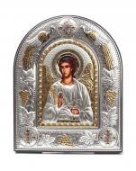 Ікона cрібна Ангела Охоронця 20х25 см на мягкому кіоті в темній шкірі