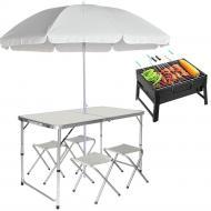 Туристический стол 1,8 м и 4 стула с зонтиком + Мангал Белый