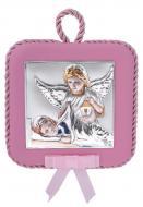 Иконка серебряная детская Ангел Хранитель 10,5х10,5 см на розовой подушечке