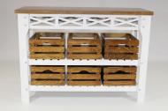 Консольный столик Древоделя Прованс 6 77х105х40 см Белая эмаль/Орех (60724)
