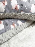 Подушка для беременной U образная серый плюш и овечки Серый