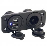 Авто/мото зарядний пристрій Recessed Twin Charging USB IP54 2.1А