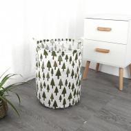 Кошик для білизни Berni Home Зелений ліс тканинний з ручками Білий/Зелений (57285)