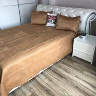 Покрывало на диван велюровое ALBO 210х230 см с наволочками 50x70 см 2 шт. Золотистый (P-C6)