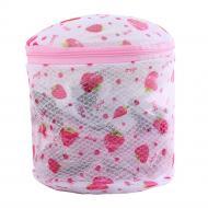 Мешок-контейнер для стирки белья 15х15 см Бело-розовый