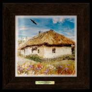Картина декоративная металл/дерево Украина Дом с вишневым цветом 230х230 мм Коричневый (уккм04к15х15)